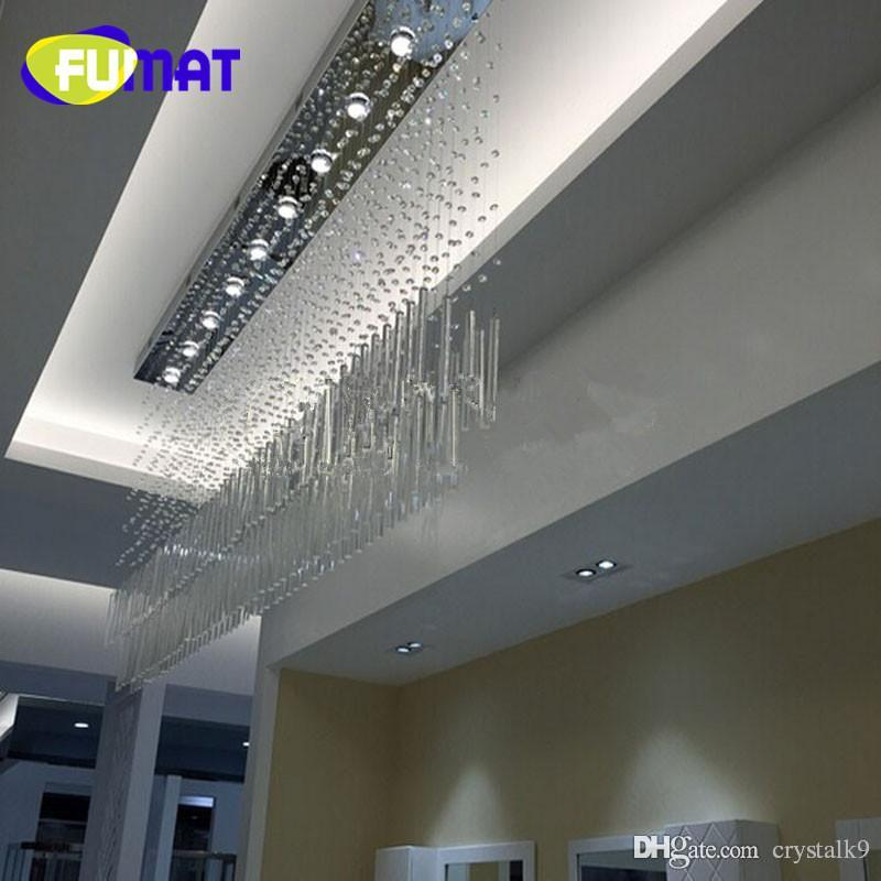 FUMAT Modern k9 crystal led lamp rectangular restaurante messenger wire lamp sala de partición lampara led luz de techo