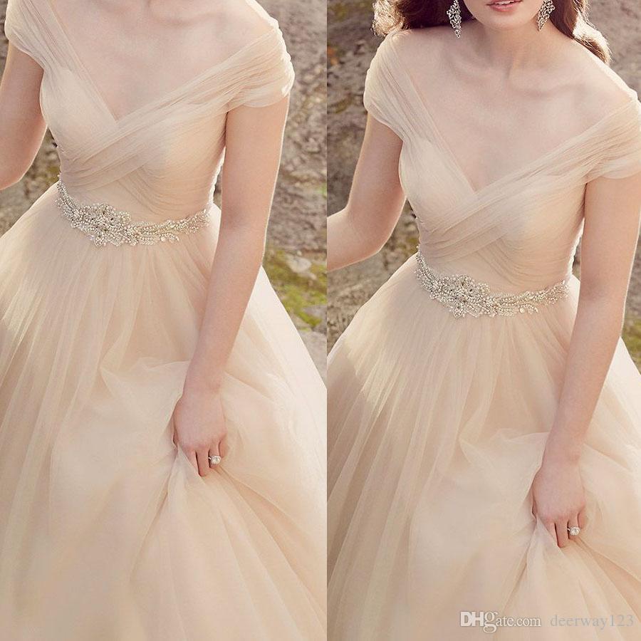 Charmante robe de mariée manches Champagne corsage froncé une ligne de perles ceinture Ceintures simples Tulle robes de mariée 2019
