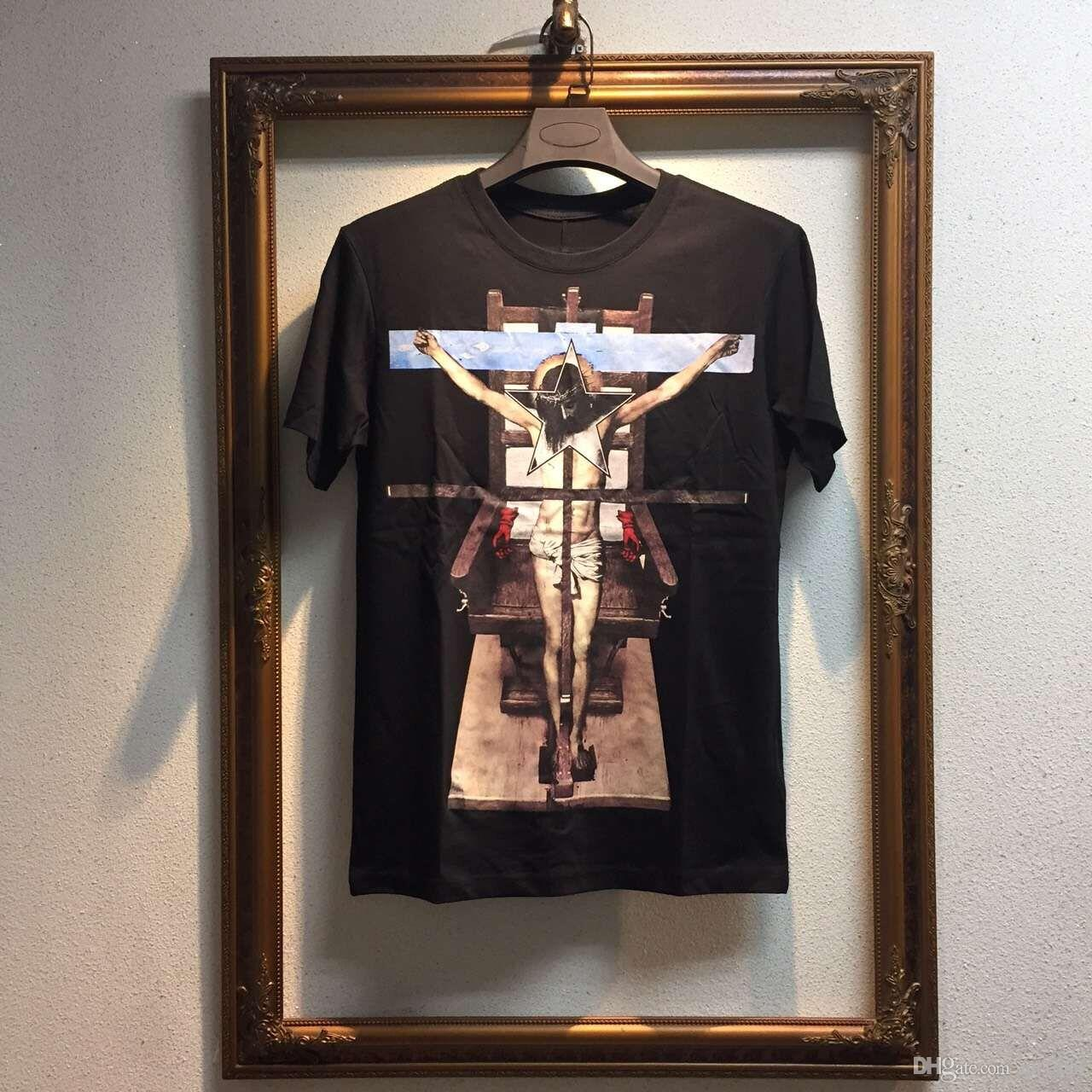 2016 أزياء رجالية الصليب يسوع الطباعة عارضة قصيرة الأكمام الرجال القميص ماركة الرجال القميص ، القطن عالية الجودة الملابس