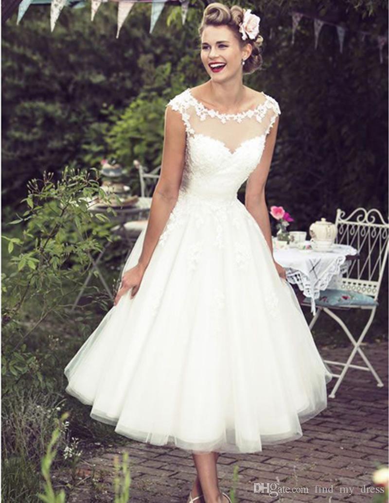 8ea68c5af41a Discount Tea Length 1950s Vintage Wedding Dresses Cap Sleeve Jewel Neck  Lace Tulle A Line Short Classic Bridal Gowns Custom Made Wedding Simple  Dresses ...