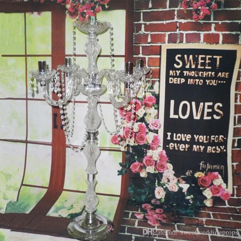 결혼식 파티 호텔 장식에 대 한 고품질 5 팔 실버 아크릴 크리스탈 결혼식 candelabra