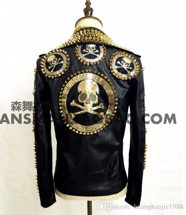 S-5XL 2020 hommes nouvelle marque Fashion Slim Blazers Bigbang DJ manteau mâle veste en cuir moto GD tête squelette Rivet costumes mâle chanteur