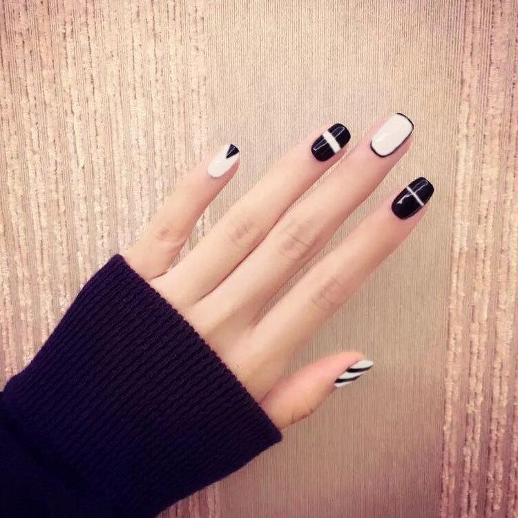 Wholesale Simple Black White Line Trending Style Nail Art False Fake Nail  Art Tips Stickers With GLUE Nail Shop Nail Stickers From Xingceng, $33.3   DHgate. - Wholesale- 24pcs/set Simple Black White Line Trending Style Nail Art False  Fake Nail Art Tips Stickers With GLUE