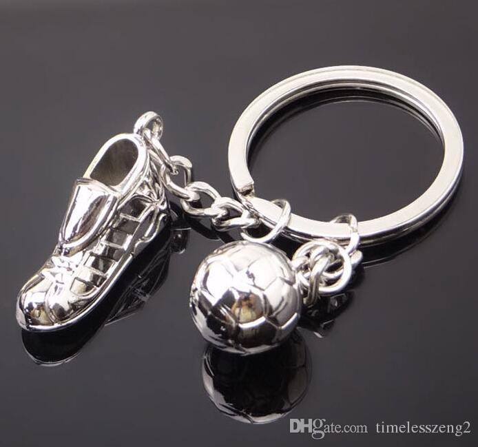 Creative simulation soccer and shoes key chain metal ornament mini sport shoes small gifts for soccer fans good gift