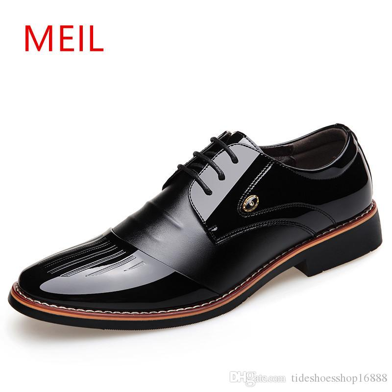 3463c7a8640 MEIL Height Increasing Shoes For Men Increased Height 6cm Men S Patent Leather  Dress Shoes Classic Business And Pointed Oxfords Shoes Deck Shoes Boat Shoes  ...