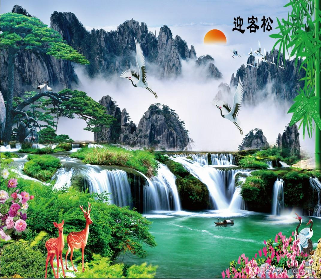 custom large murals fabric wallpaper 3d wall sitting room b19 custom large murals fabric wallpaper 3d wall sitting room b19 bedroom fashion tv sofa background chinese style classical landscape waterfall wallpapers hd