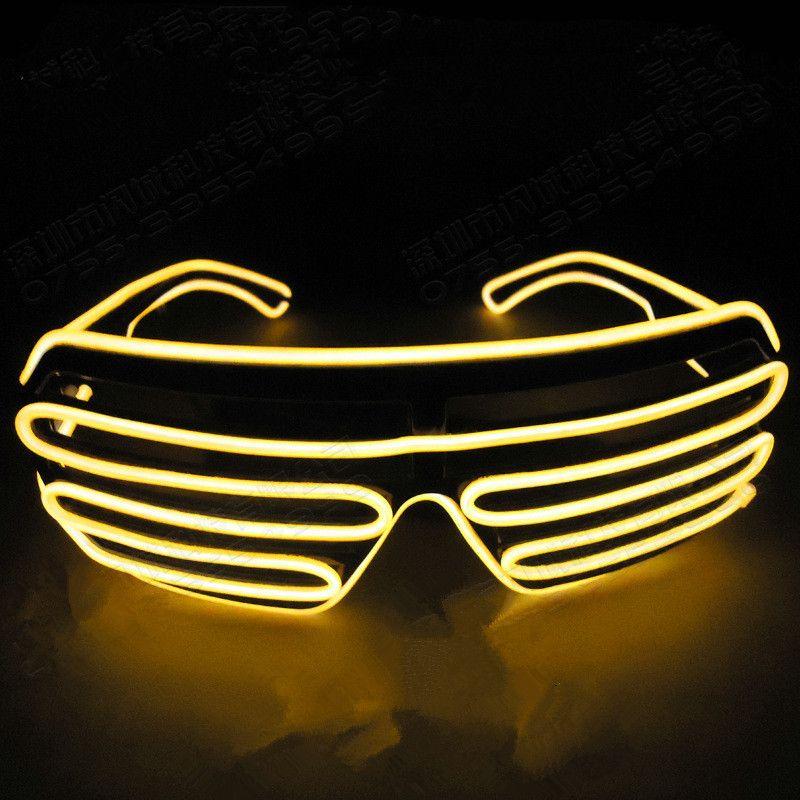 Lampeggiante LED Light Up Shutter EL Wire Glasses Glow Frame Occhiali da sole Dance Party Illuminazione di Halloween Nightclub Q0064