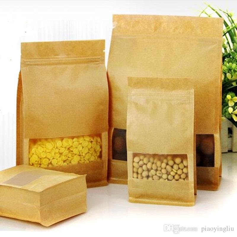10cm*20cm+6cm Kraft paper bag frosted open window packaging bag eight edge-sealing leisure food packaging organ paper bag