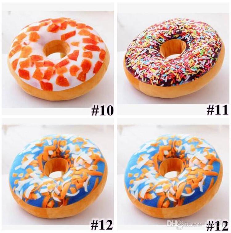 Hot 12 Styles 40cm Doughnut Pillow Shaped Ring Plush Soft Cushion Colorful Donut Pizza Cushion Decorative Pillow Plush toys IB377