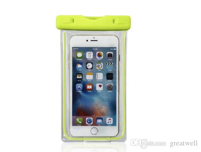 Universal Waterproof Beach Bag Case For iPhone 6 7 Luminous Transparent Dry Pouch For Samsung LG G5 HTC Under 6 inch Phone