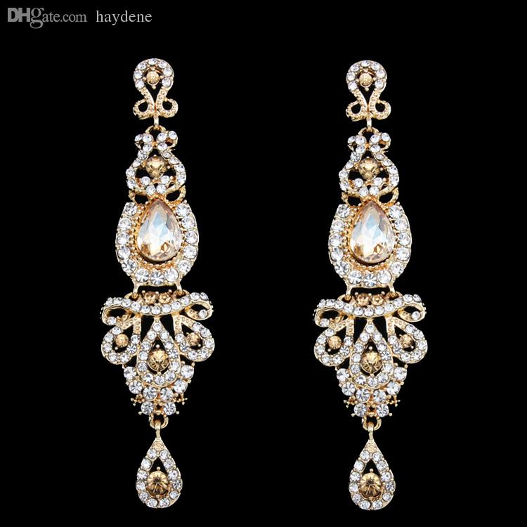 WholesaleBig Long Gold Earring Gold Plated Wedding Earring for