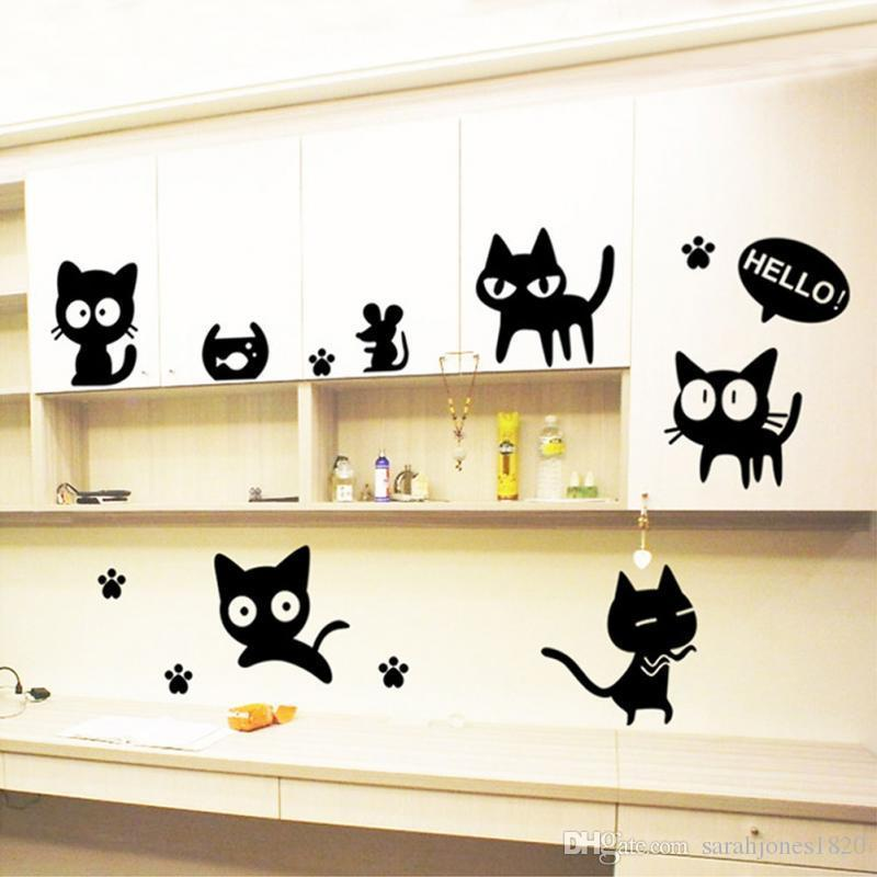 New Black Cats Diy Wall Sticker Removable Wall Decal For Room ...
