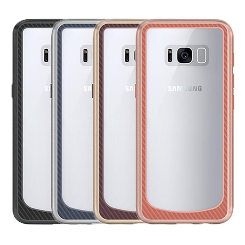 bd1f1816f4f For Samsung S8 Case Clear Hybrid Soft TPU + Metal Texture Bumper Case Cover For  Samsung Galaxy S8 S8plus A7 J7 (2017)
