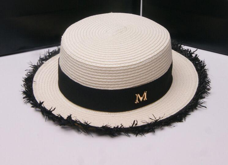 2019 New Maison Michel White Straw Fedora Hats Short Brim Flat Top Letter M  Jazz Beach Sun Trilby Bowler Hats For Women Chapeu Feminino From Lordxx 89ba3d55e518