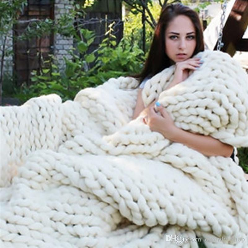 Photo Taking Props Thick Line Knitted Blanket Blending Anti-Pilling Super Soft Used in Bed Sofa Plane Cobertor Blanket