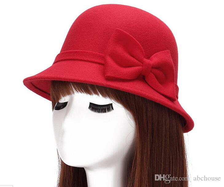 Wide brim wool felt sun fedora hat for women big bowknot of fall winter sombrero floppy bowler ladies bucket cap
