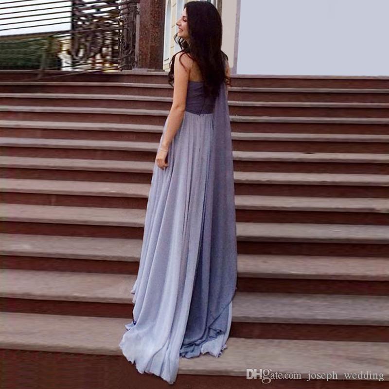Livraison Gratuite 2016 Red Carpet Academy Awards Gris Bleu Élégant A-ligne Plissé De Bal D'inspiration Robes Longues Soirées Robes De Soirée
