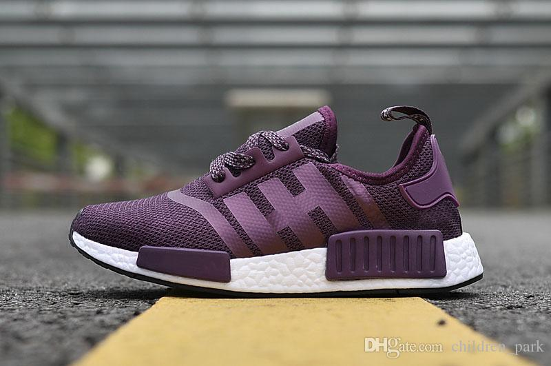 ... c9871 5d8e2 2017 Best Quality NMD Runner Shoes NNMR1 Monochrome R1 Mesh  Purple Women Men Running ... e8d209805