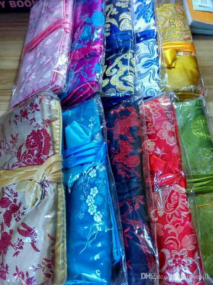 かわいい花の絹のブロコードジュエリーロール旅行ケースの女性巾着化粧袋ビッグ高級化粧品収納バッグポーチ/ロット
