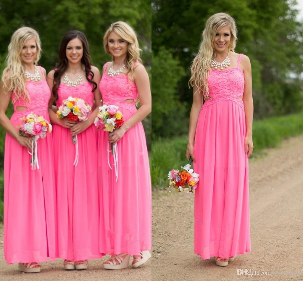 Fuchsia Pink Long Country Bridesmaid Dresses Cheap Plus Size ...