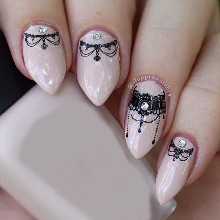 Lace necklace 3d nail art stickers black lace full nail stickers see larger image prinsesfo Choice Image
