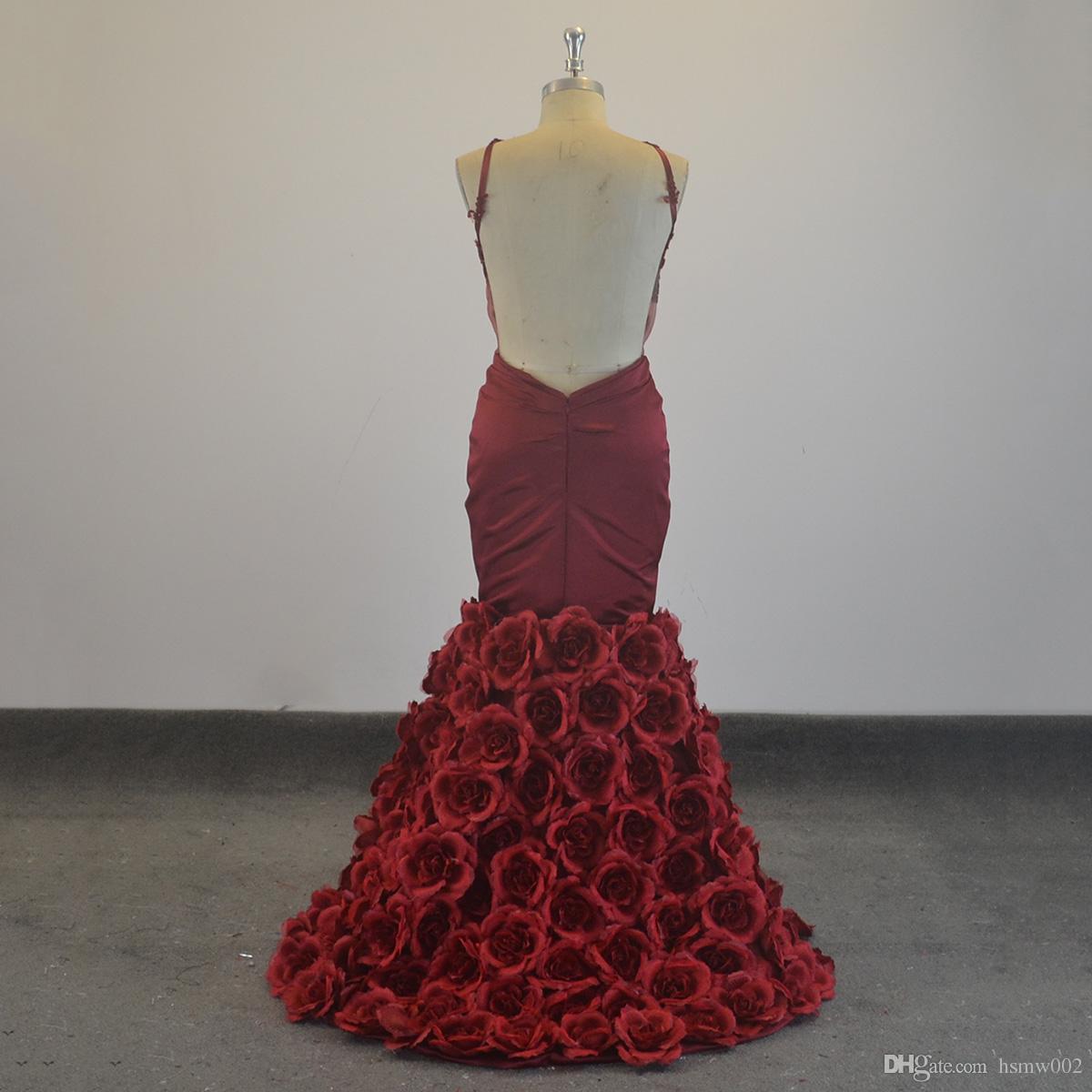 Glamour Burgunday sirène robes de bal licol cou dentelle appliques robe de bal perles étage longueur robe de festa réel simples robes de fête
