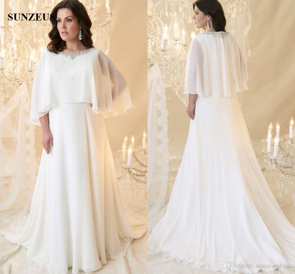 Discount Beaded Sccop Neckline Long Ivory Chiffon Wedding Dress With ...