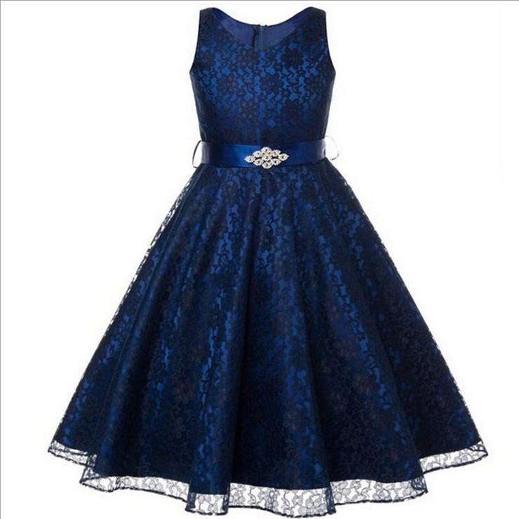 Büyük kız gelinlik kolsuz kızın dantel prenses elbise çocuk etek ile rhinestone kemer çocuk butik giysi