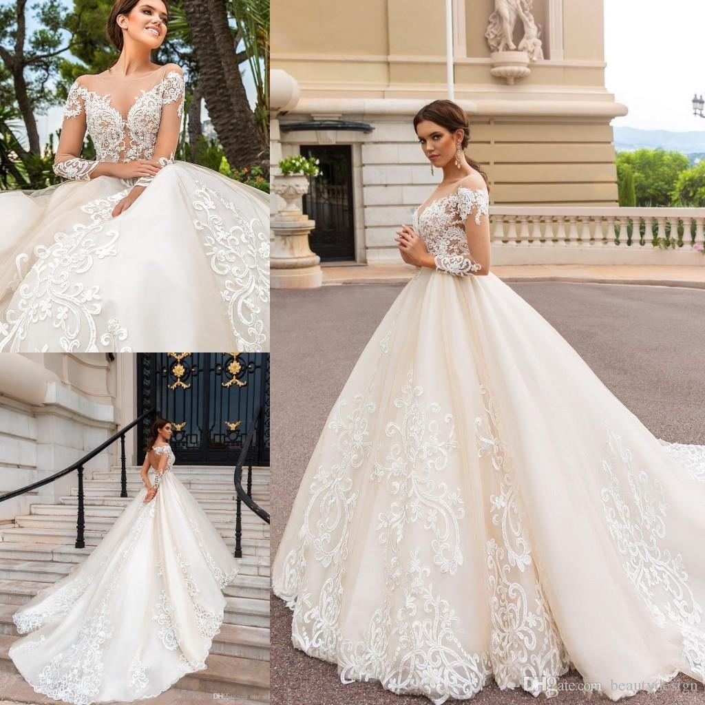2019 Newest Long Sleeves Ball Gowns Wedding Dresses Modest Sheer Neckline  Lace Appliques Bridal Gown Court Train Robe Mariage Wedding Dress Hire  Wedding ... bc82ad4c1d37