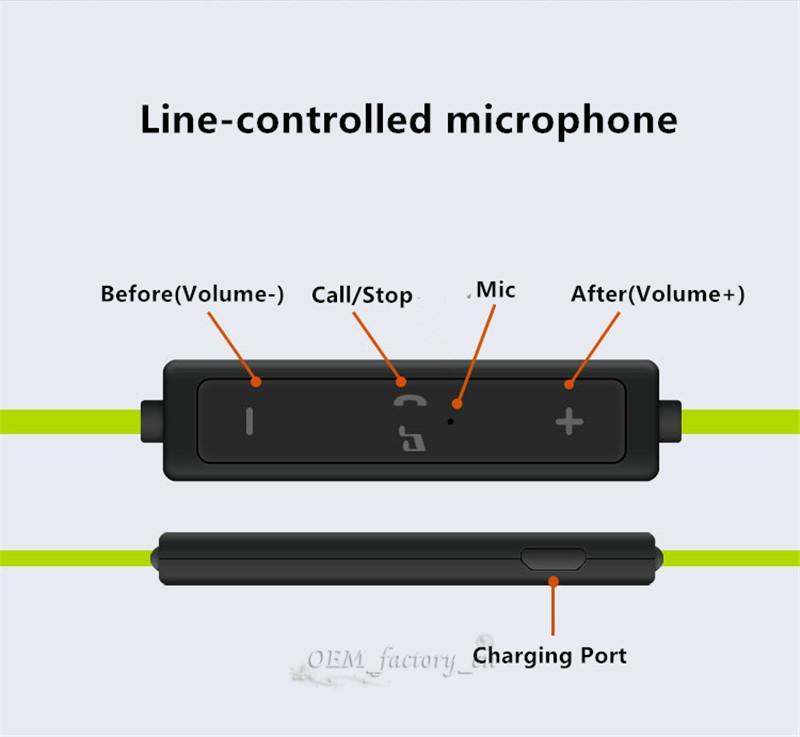 56S Wireless Bluetooth Earphones Waterproof Headphones Stereo Bass Headset Sweatproof Sport Earpieces Ear Hook Earbuds With Mic for iPhone 8