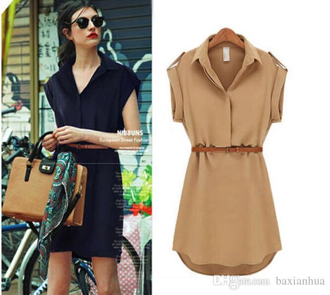 Kadın Partisi Plaj Ofis yaz style1 için summer kemer 2020 Kısa Bir Çizgi katı Artı boyutu şifon gündelik elbiseler elbise