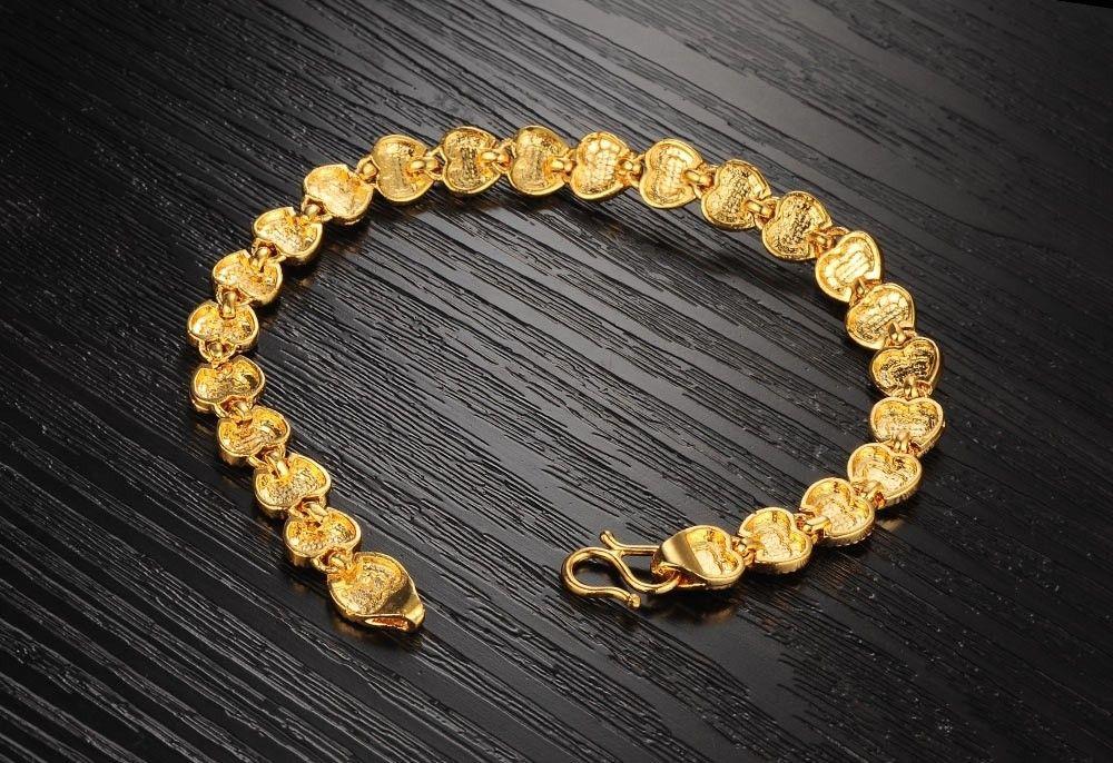 Bracelet de charme plaqué or femmes vintage coeur bijoux 18K plaqué or bracelet chaîne Saint Valentin cadeaux en gros KS421