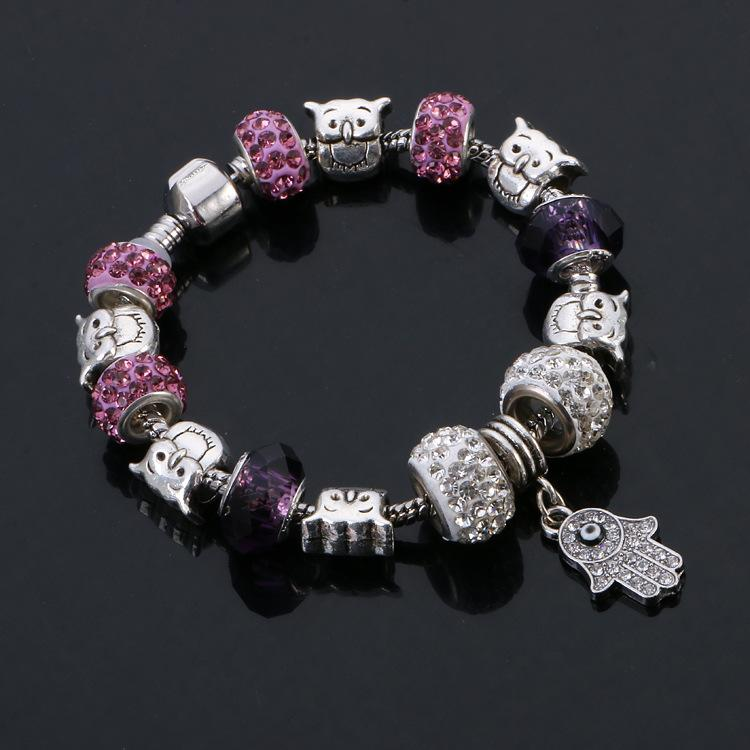 Heißer Verkauf netter DIY Charme Pandoras Armband für Frauen 925 Sterlingsilber Buddha Palme Schmuck 9 Farbe österreichischen Kristall Charme Perlen Armbänder