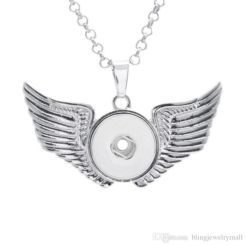 Fashion Wing Leaf Fish Clock Dragonfly Snap Button Jewelry Round Pendant Necklace With Link Chain Necklace Fit 18mm Snap Button Necklace For