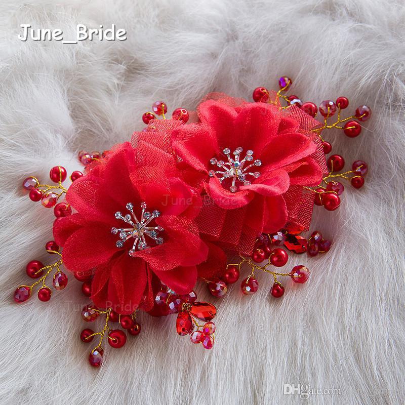 Nouveau Blanc Rouge De Mariée Cheveux Fleurs Vente Chaude De Haute Qualité De Mariage Cristal Flexible Accessoire De Cheveux Floral Sydney Coiffure De Mariée Coiffures