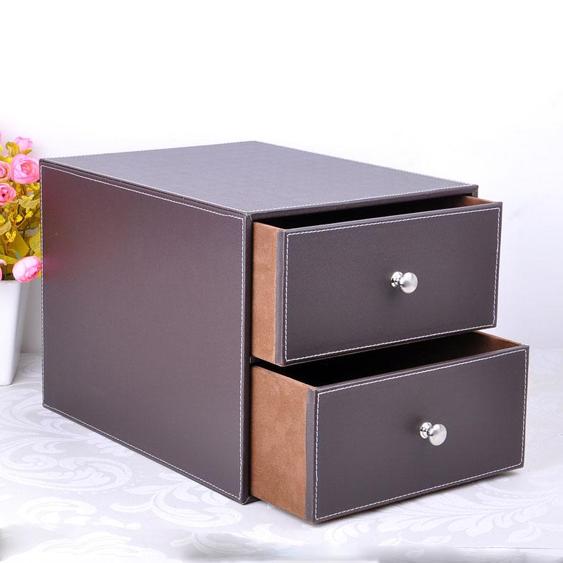 Whole Double Layer Drawer Wood Structure Leather Desk Filing Cabinet Storage Box Office Organizer Doent Container Brown 214b
