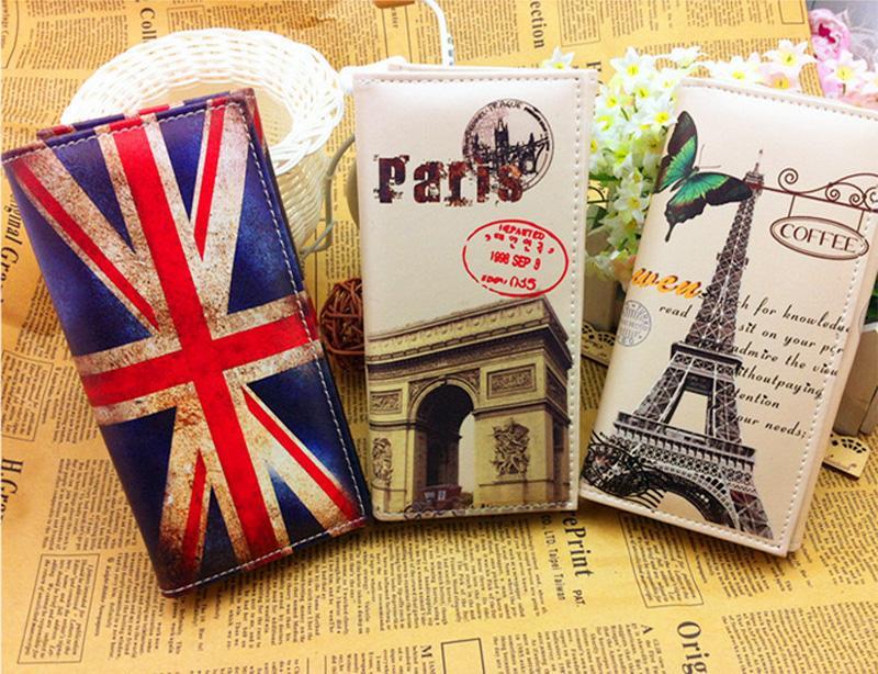 100 adet / grup 2016 Lady PU deri Debriyaj cüzdan uzun stil renkli Paris Eyfel Kulesi ve İNGILTERE bayrağı baskılı kadın çanta telefon kartı tutucu