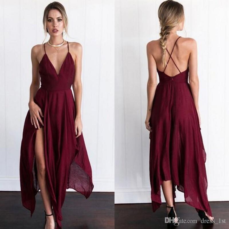2017 Vestidos de cóctel asimétricos atractivos de la gasa del rojo oscuro Vestidos de fiesta formales hechos a mano del espagueti Criss de la parte posterior cruzada de la longitud del té EN101112