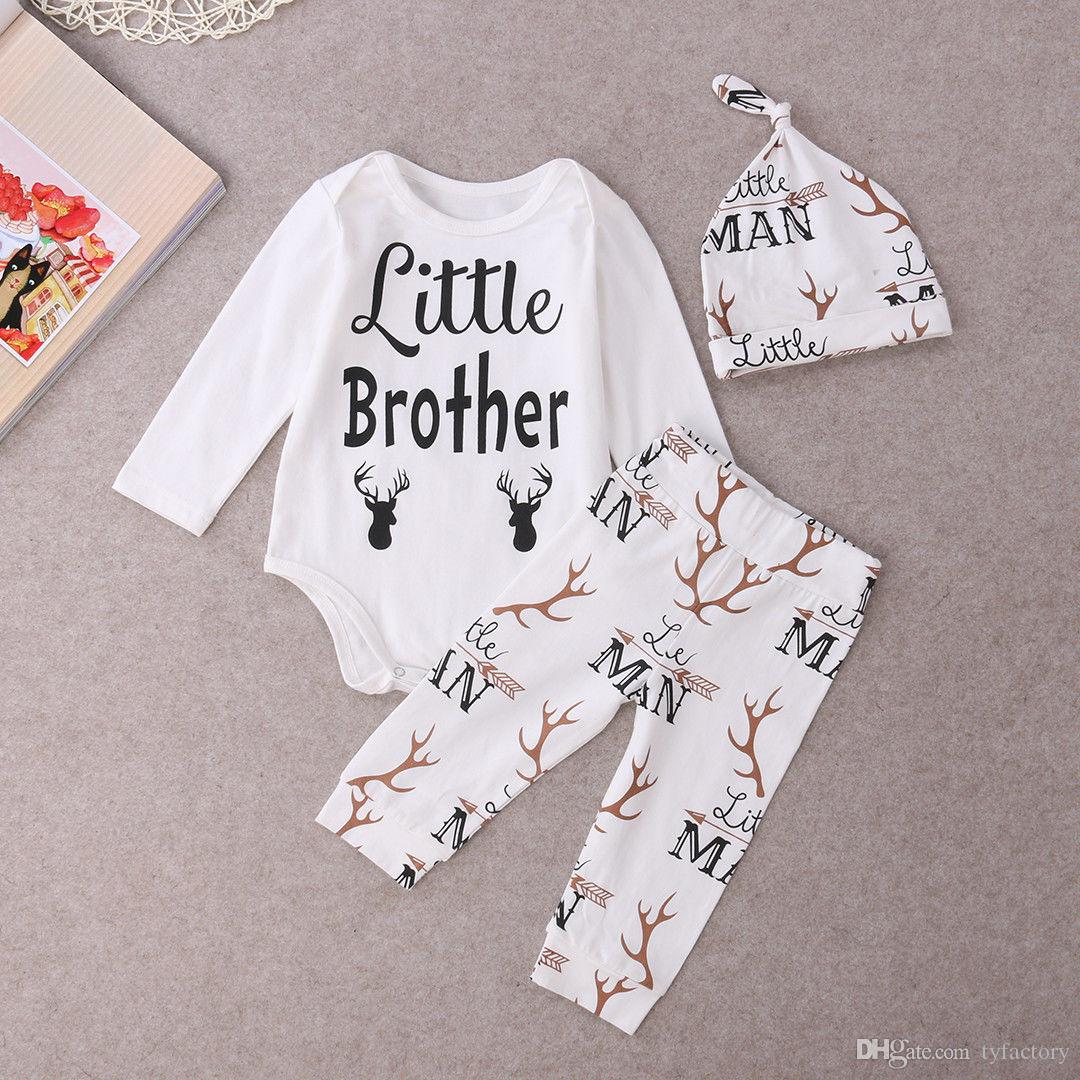 hot sale baby girl suits Newborn kids Boys girls Little brother Deer Tops Romper Babygrows Long sleeve jumpsuit+Pants+Hat cotton Outfits Set