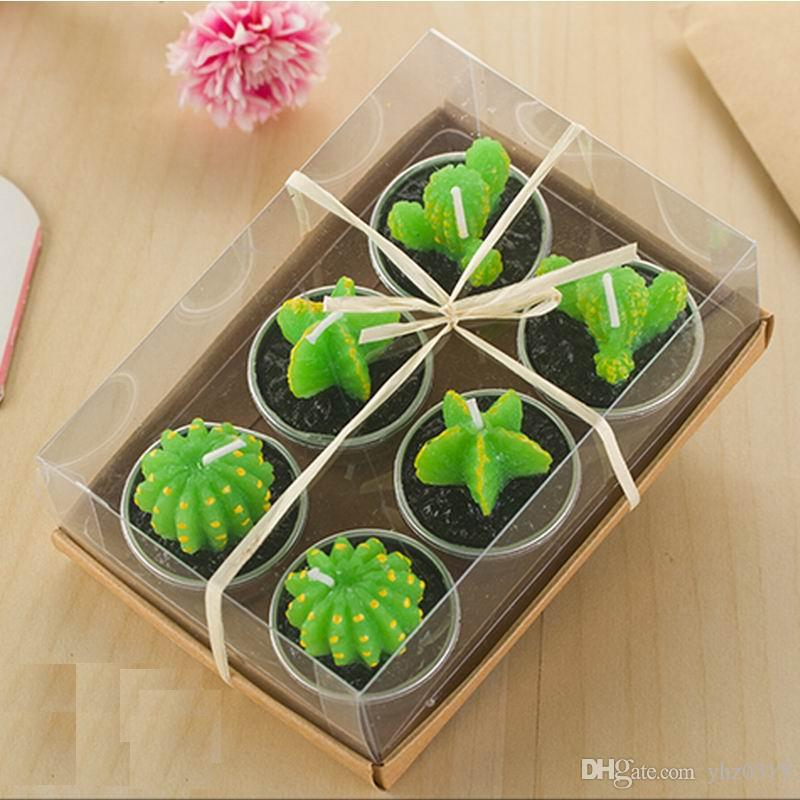 Cactus Scented Candle Green Meat Plant Home Interior Scent Candles Romantic Green Candle Tea Light Candles Mini Lovely Gift