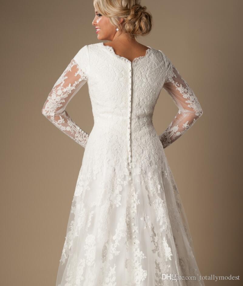 Abiti da sposa avorio vintage a-line in pizzo Abiti da sposa modesti con maniche lunghe scollo a V bottoni maniche lunghe abiti da sposa su misura