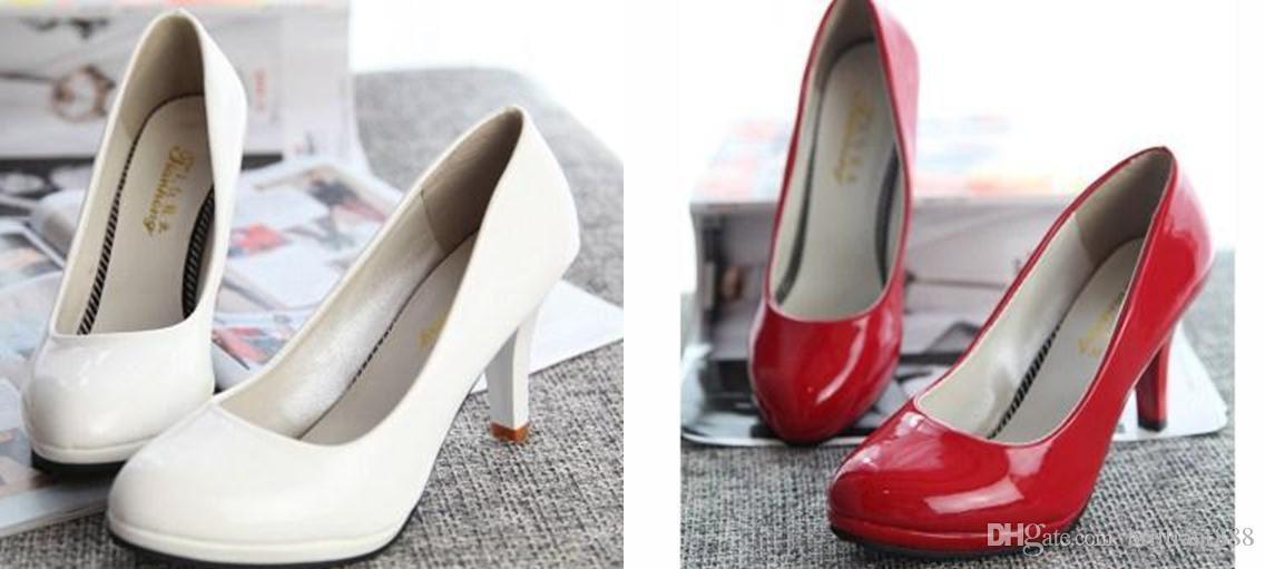 Neue koreanische High-heeled Schuhe mit dünnen Prinzessin Hochzeit Schuhe Beruf einzelne Schuhe Runde wasserdicht Patent