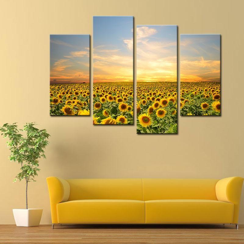 2018 4 Picture Canvas Painting Sunflowers Canvas Prints Artwork ...