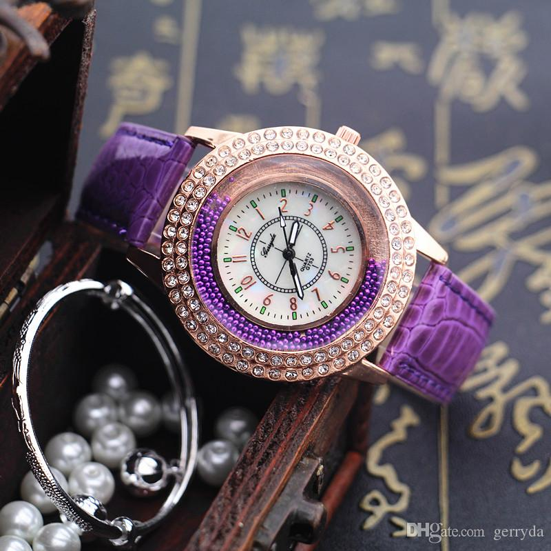 !Hot selling!PVC leather band,crystal deco case,moving stone under glass,Gerryda fashion woman lady quartz watches,753