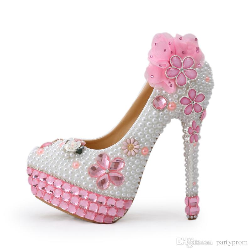 71229212efe Handmade Pink Crystal High Heels Bling Bling Rhinestone and White Pearl  Wedding Shoes Bridal High Heel Party Prom Shoes