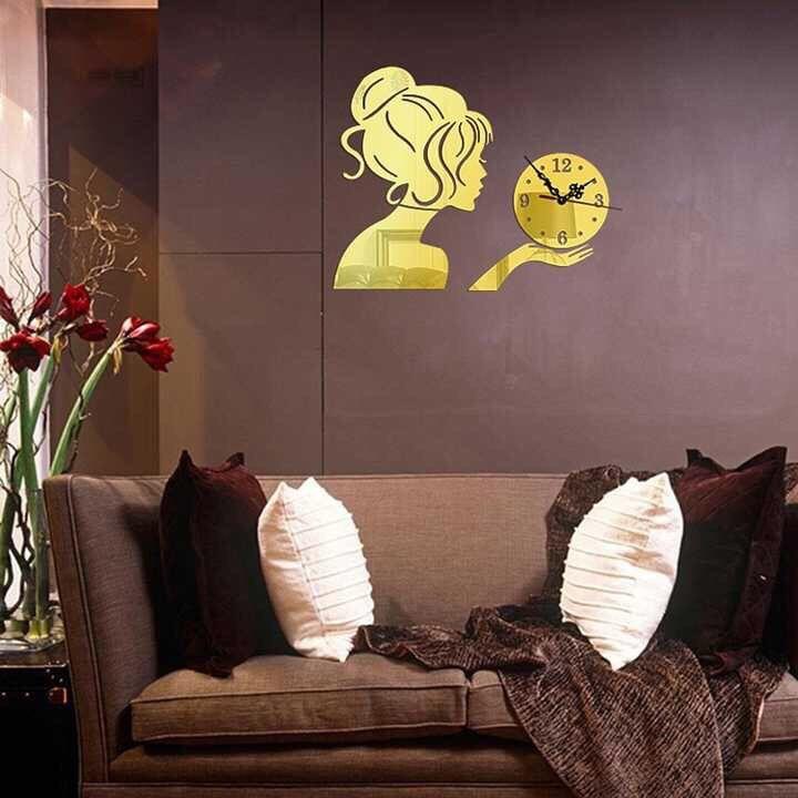 Espelho acrílico diy relógio de parede relógio bonito sala de estar adesivos de parede relógio criativo