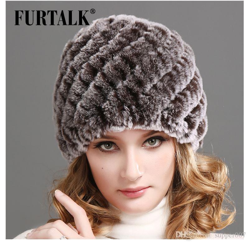 FURTALK Brand Russian Winter Knitted Rex Rabbit Fur Cap Women S Hat Natural  Rabbit Fur Hats Cap Fedora From Supper007 2f268d0e644