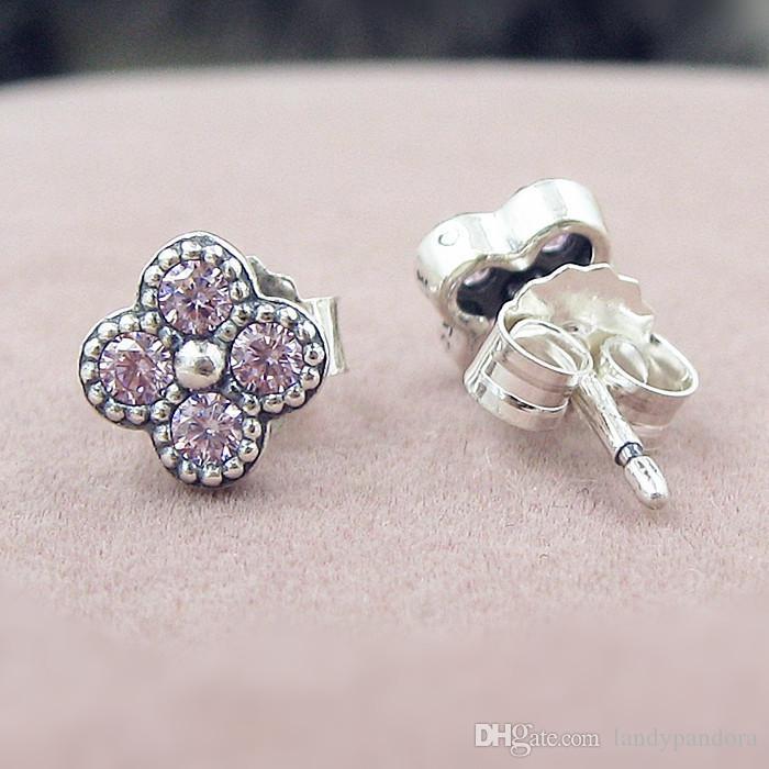 2016 새로운 봄 고품질의 100 % S925 스털링 실버 스터드 귀걸이 핑크 판타지 CZ 귀걸이와 유럽의 판도라 스타일 쥬얼리 동양의 꽃