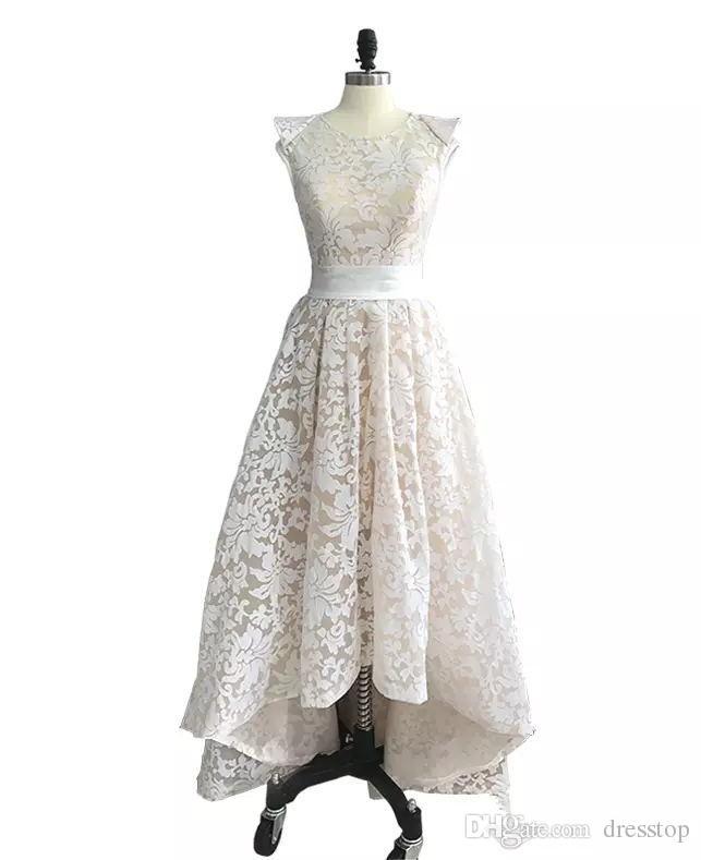 Elegante Alto Bajo Vestidos de fiesta Cuello de joya Vestidos de noche llenos de encaje Vestido de cóctel formal por encargo