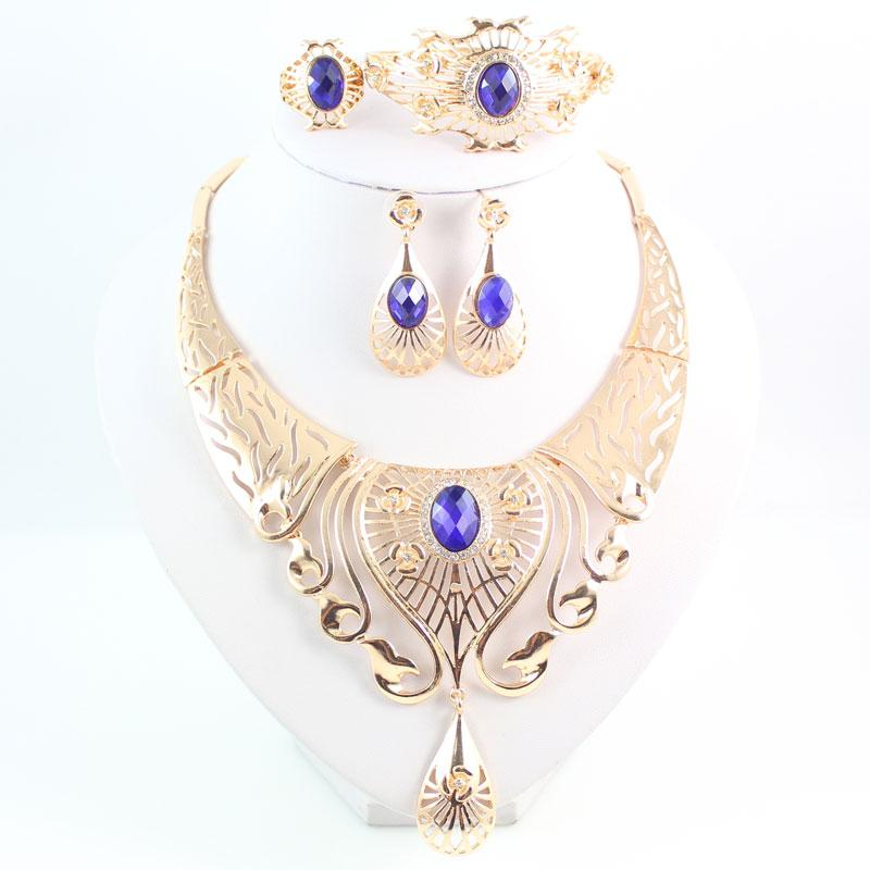 New Arrival Elegant Fashion Dubai Gold Plated Vintage Women Nigerian Crystal Jewelry Sets African Beads Jewellery Costume